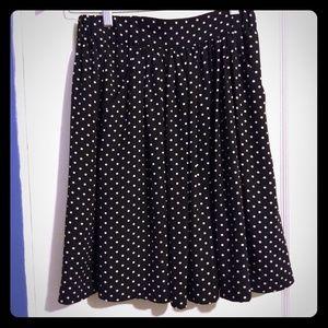 CeCe black & white polka dot lined midi skirt